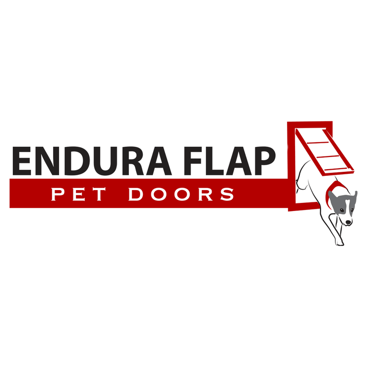 The logo for Endura Flap Pet Doors, which supplies high quality pet doors that are durable and can withstand any weather condition