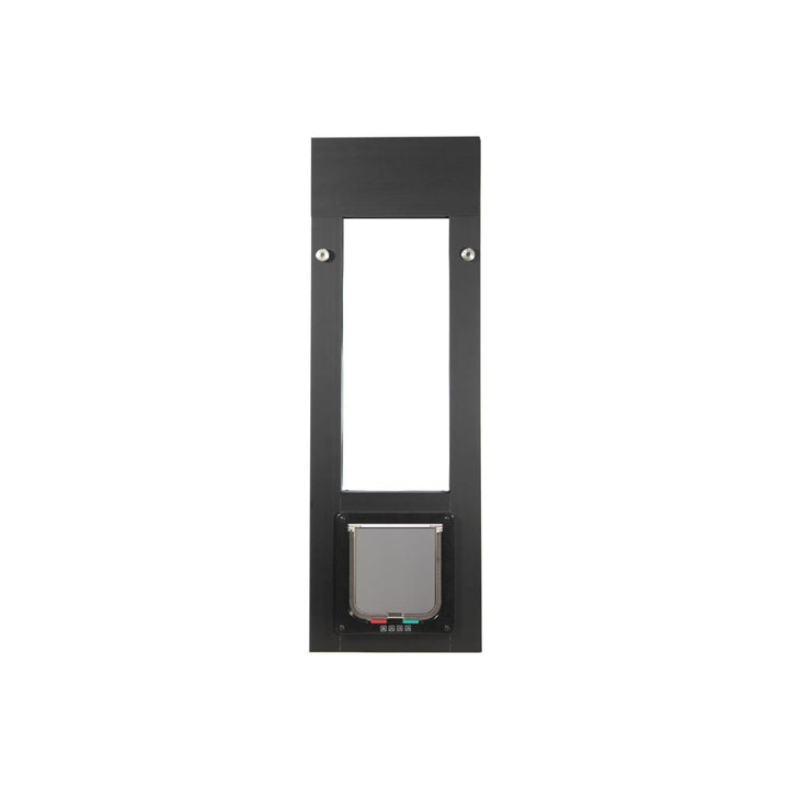 The Whiskers & Windows Cat Door for Horizontal Sliding Windows has a durable, non-corrosive aluminum frame