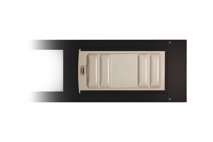 A durable, white locking cover over the flap of the Endura thermo panel with the monorail adapter