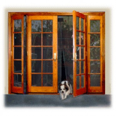 dog using bugoff hanging door