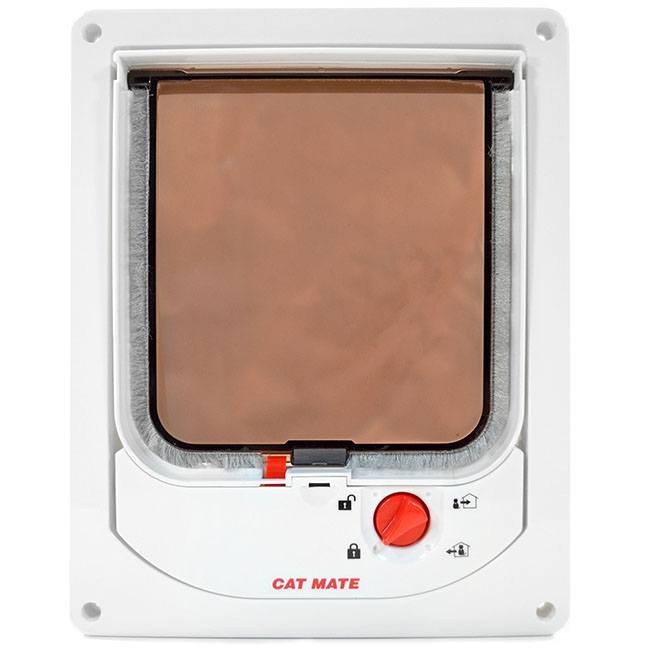 The Cat Mate 254 Electronic Cat Door with a white frame and a brown-tinted clear flap lined with weatherstripping.