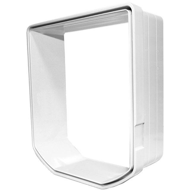The white Cat Mate Elite Wall Liner, which adds two inches to your Cat Mate door when installing into walls.