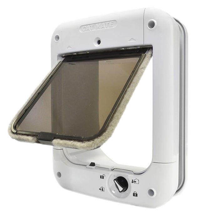 Cat Mate 360 Microchip Cat Flap with a white frame and a lockable, tinted flap lined with weatherstripping