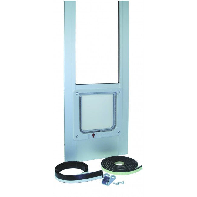 The Ideal Modular Patio Pet Door Insert with weather stripping and a pin lock