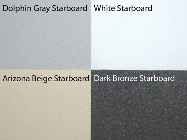 Hale Pet Doors come in four color options: Dolphin Gray, White, Arizona Beige, and Dark Bronze