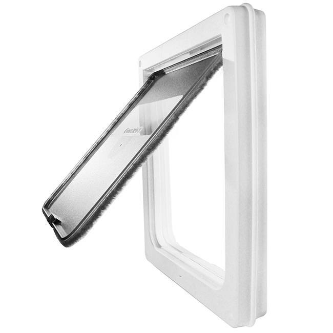 Dog Mate 215  Dog Door with a white frame and a thin flap lined with black weatherstripping