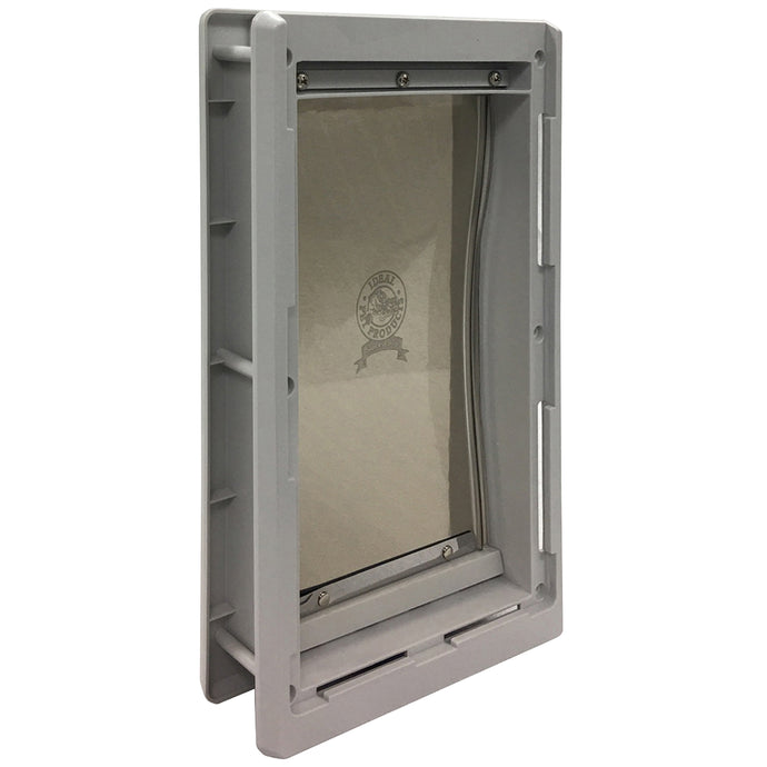 The Ideal Designer Series Original Pet Door with a gray frame and a tinted flap with the circular Ideal Products logo.
