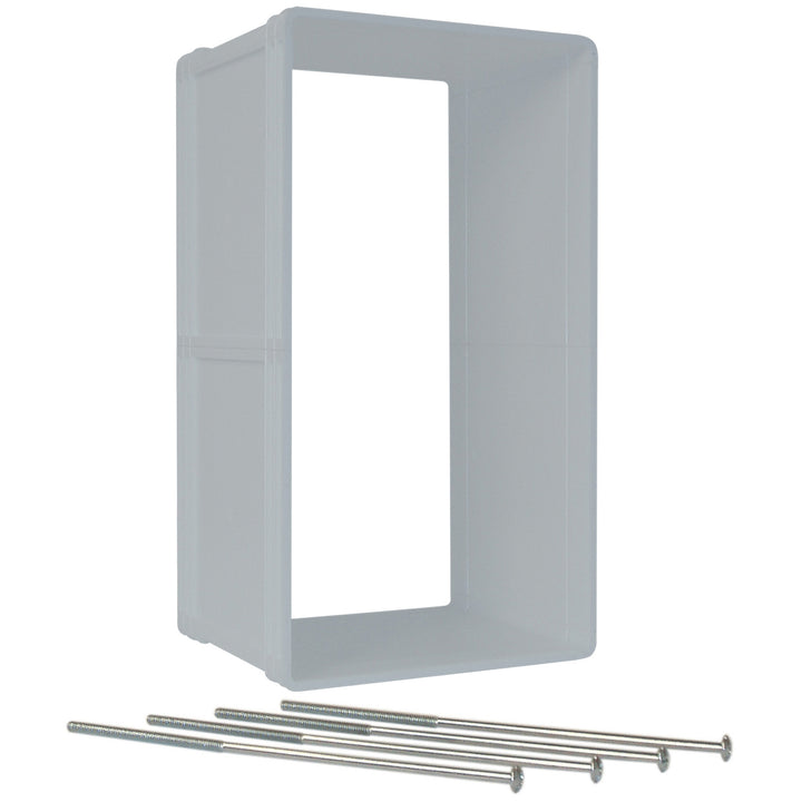 Ideal Designer Series Ruff Weather Dog Door Wall Kit, white frame, along with four long screws that come with it