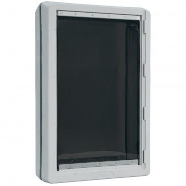 The Ideal Designer Ruff Weather dog door with a gray frame and a see-through black flap.