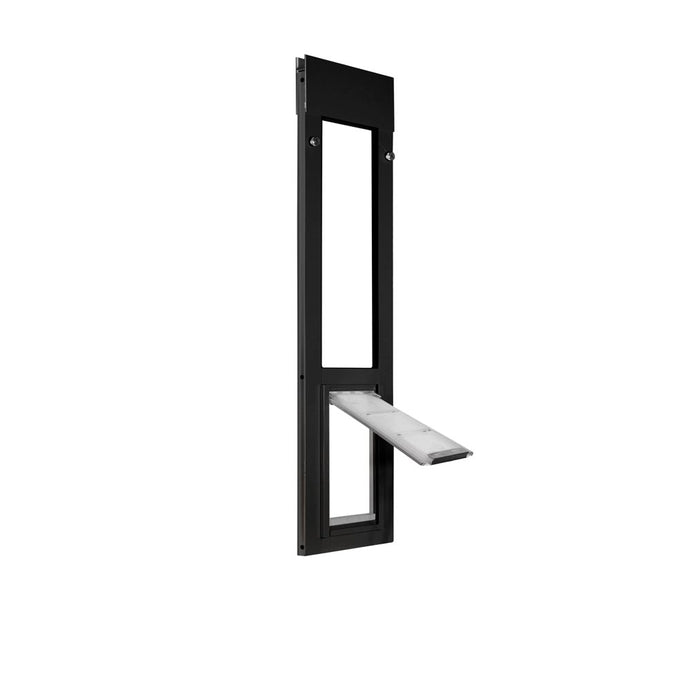 The bronze Endura Flap Cat Door for Horizontal Sliding Windows with the clear rigid flap opening upwards.
