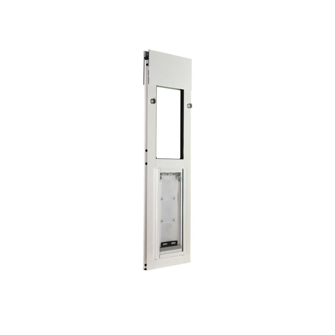 The Endura Flap Cat Door for horizontal sliding windows in size small with a white frame and a clear flap.