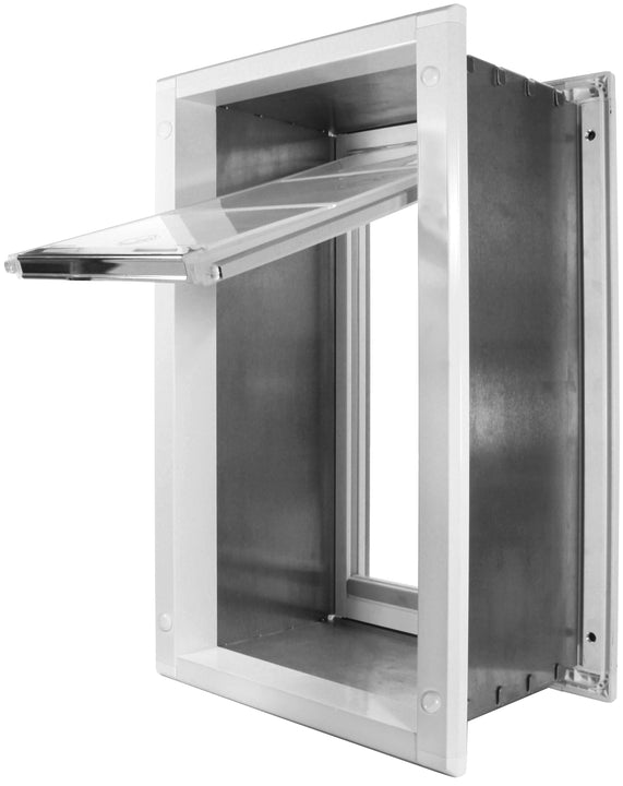 "The Endura Flap Cat Doors for Walls, which has a self-framing aluminum frame that installs into walls 2""-8"" thick"
