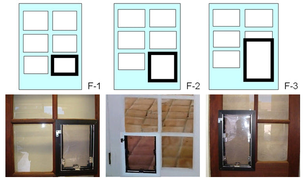 A diagram showing where your Hale pet door will be installed into your French door for order options F-1, F-2. and F-3