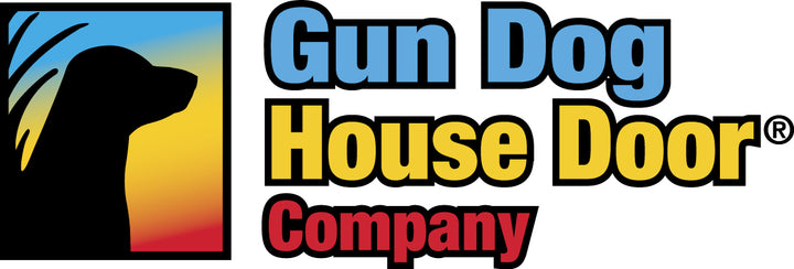 The logo for Gun Dog House Door company, which specializes in heavy-duty pet doors made with aluminum frames and thick chew-resistant flaps