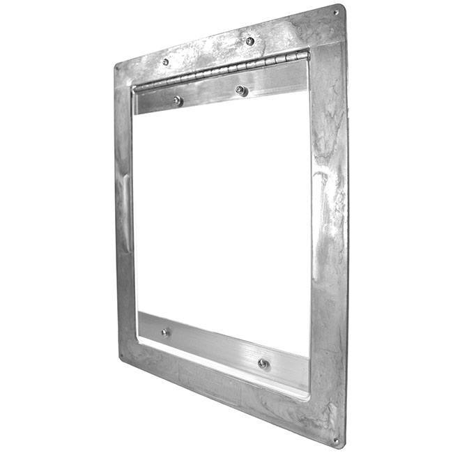 The Gun Dog Easy Dog Door as a brushed aluminum frame