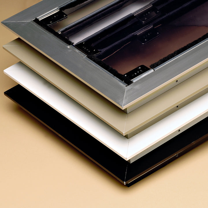 image of the inside frame color options (brushed aluminum, arizona beige, white, and bronze black)
