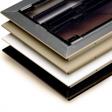 The extruded aluminum frame comes in four colors: brushed aluminum, Arizona beige, white, and bronze