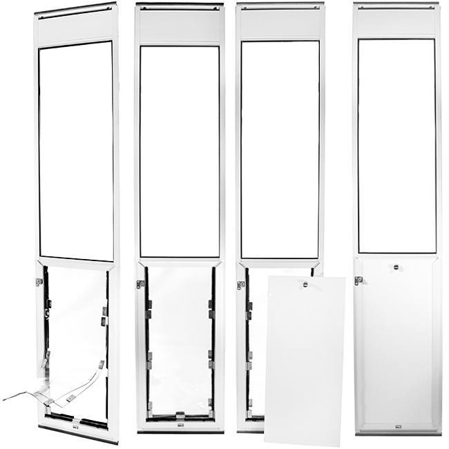 Four Hale Omni panel pet doors for sliding glass doors in white that show the process of attaching the locking cover over the clear flap.