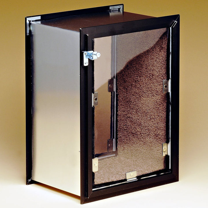 The Hale Pet Door is lined with carpet on three of its sides that is resistant to stains, mold, and mildew