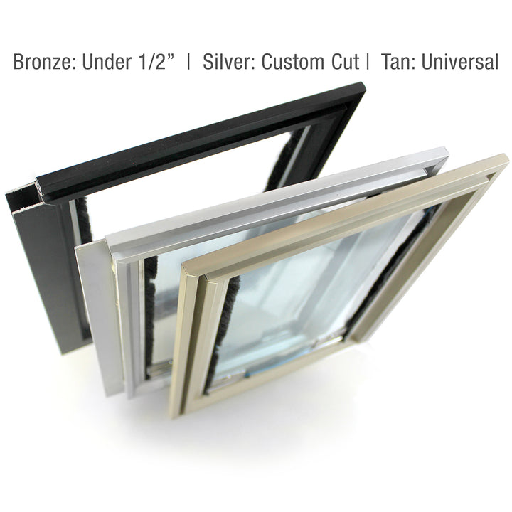 Three colors hale cat door for screens: bronze, silver, and tan