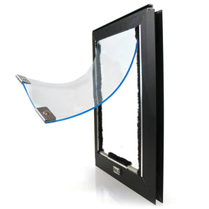 The Hale Cat Door for Screens, which has a black frame and a clear flap lined with magnets and weatherstripping.