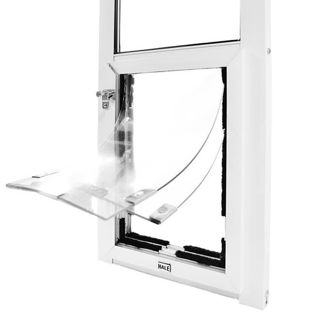 Double flap feature for Hale pet door for glass door adds insulation