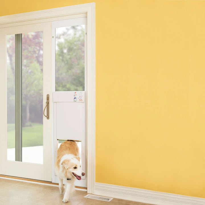 dog using High tech sliding glass pet door insert