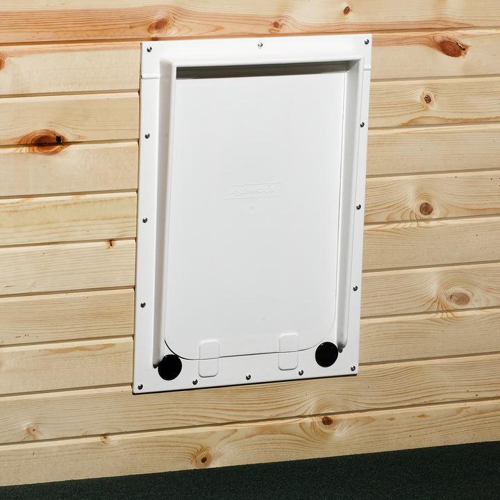 The Magnador Dog Doors for Doors & Kennels is an affordably priced pet door that can be installed in a large variety of places