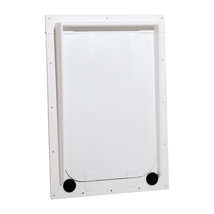 Front view of the plastic Magnador Dog Door for doors and pet kennels