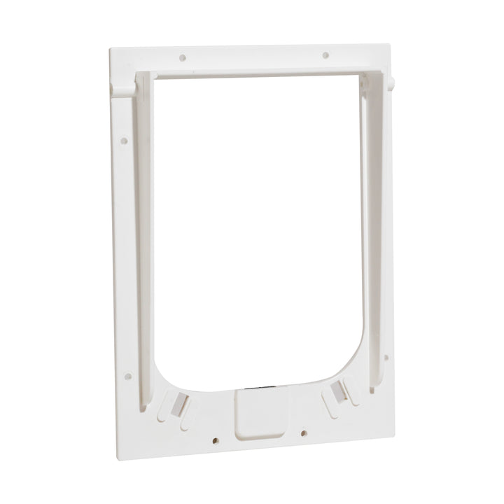 The white Magnador pet door outer frame replacement in the size small