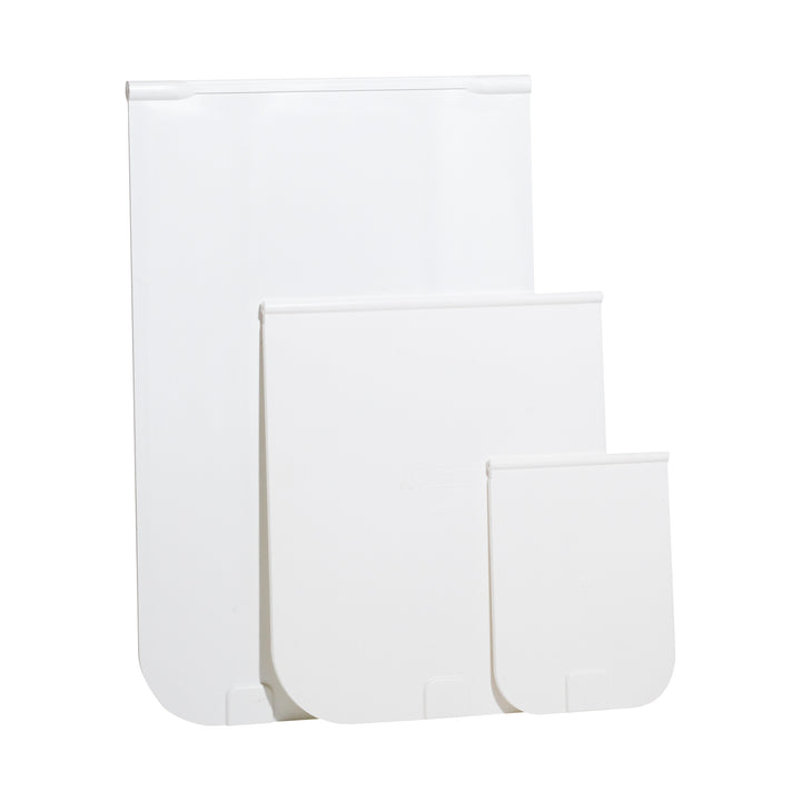 3 sizes of white replacement flaps for Magnador brand doors
