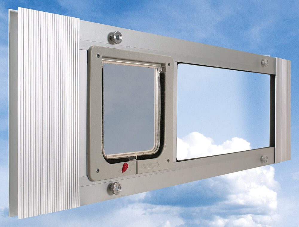 The Ideal Cat Sash Pet Door on its side so that the flap is on the left and the clear panel is to the right