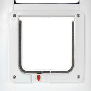 Ideal Fast Fit cat door for sliding glass doors has a clear, rigid flap that is lined with weather stripping for increased insulation value