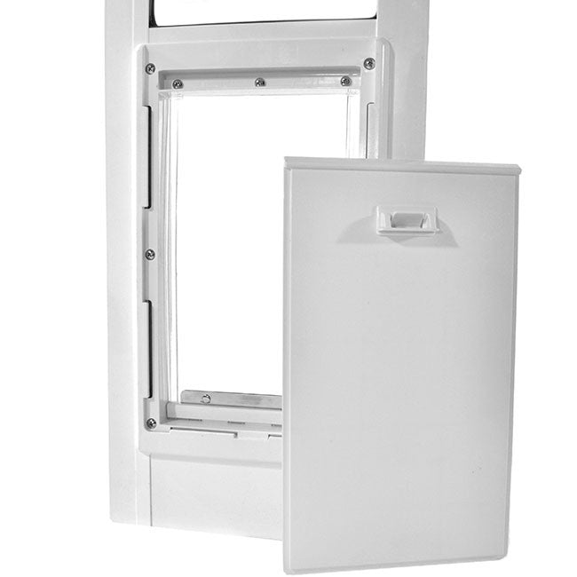 white ideal fast fit pet door with locking cover