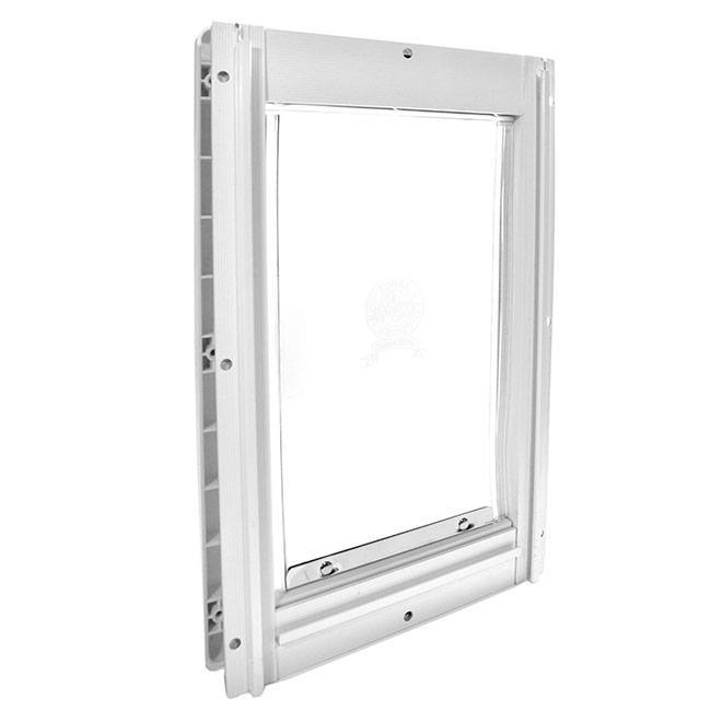 The Ideal Screen-Guard Pet Door has a durable screen available in white