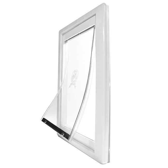 Ideal Screen-Guard Pet door, with a white plastic frame and a clear vinyl flap