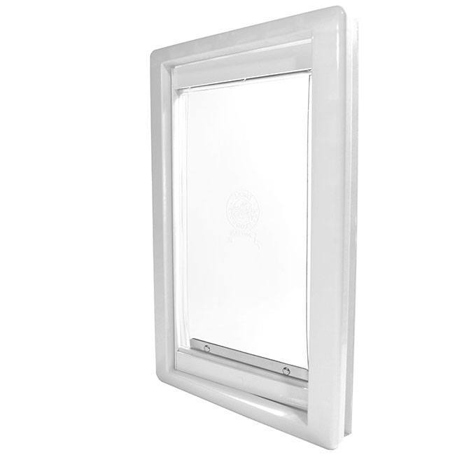 The Ideal Screen-Guard Pet door has a lightweight vinyl flap that seals at the bottom with a magnet