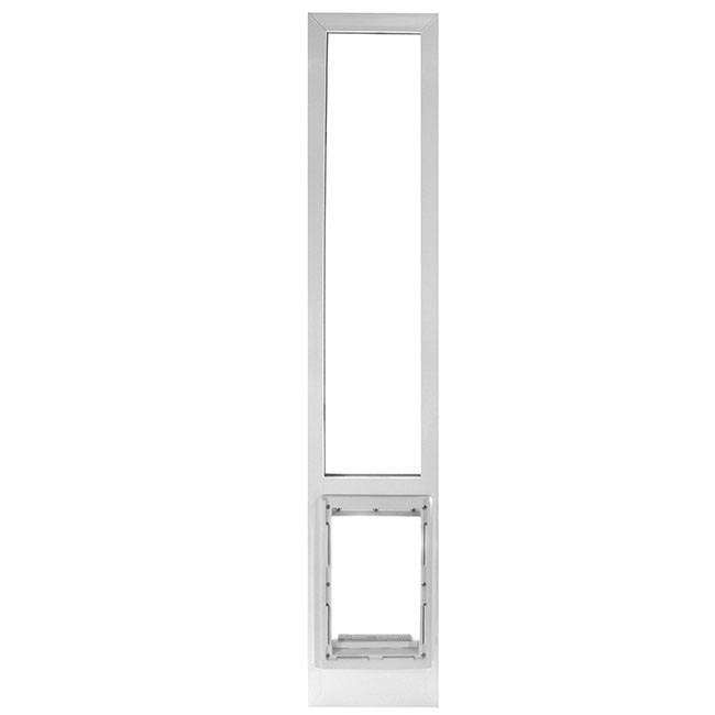 The Ideal VPP Vinyl Patio Pet Door Panel, which has white vertical frame and a clear flap.
