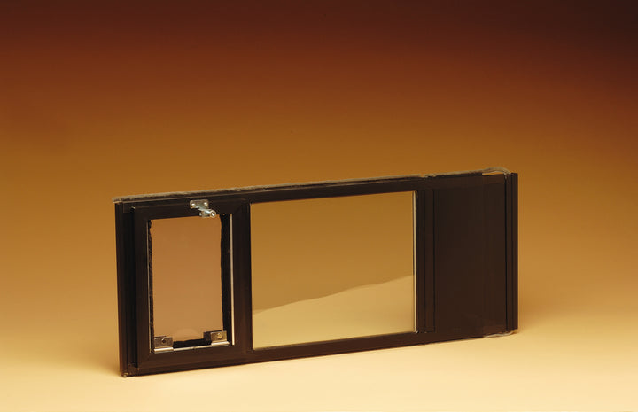 "Hale ""Omni"" Pet Door for Sash Windows comes in bronze and extends to fit securely into your window frame"