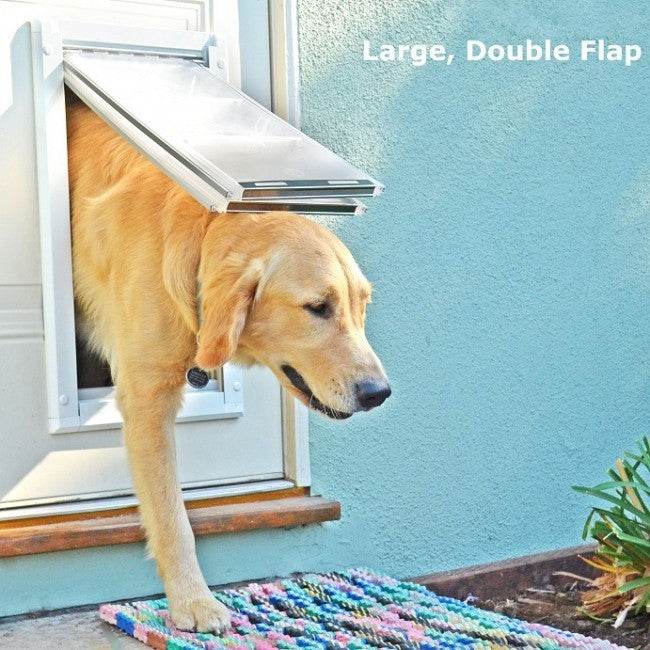 endura flap double flap door mount in use by golden retriever