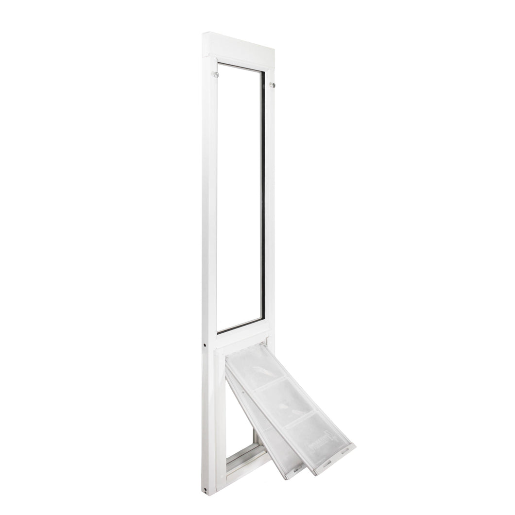 The Endura Flap Vinyl sliding glass dog door with a white frame and two clear flaps that have adjustable magnet strengths.