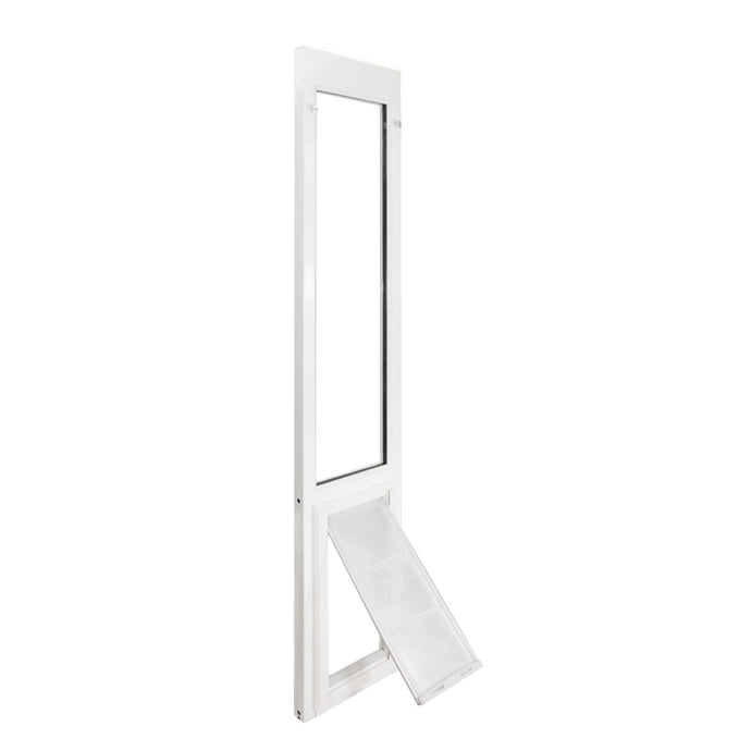 The Endura Flap Vinyl Sliding Glass Dog Door, which has a white frame and a frosted flap