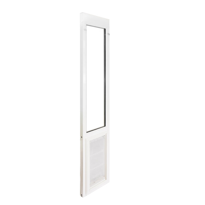 The Endura Flap Severe Weather Vinyl Sliding Glass Dog Door, which has a 90 day return policy and a lifetime warranty