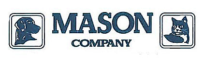 The logo for the Mason Company pet doors, which specializes in cast aluminum frames that swing in multiple directions to fit any pet's lifestyle