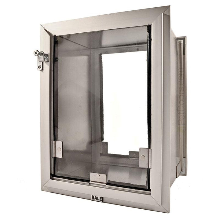 Size Small, brushed aluminum Frame Color - locking cover can load from top, left, or right side of the wall pet door.