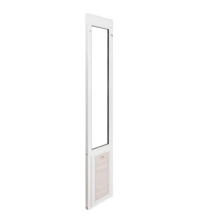 The Endura Flap Severe Weather Vinyl Sliding Glass Dog Door with a white locking cover over the weather resistant flap