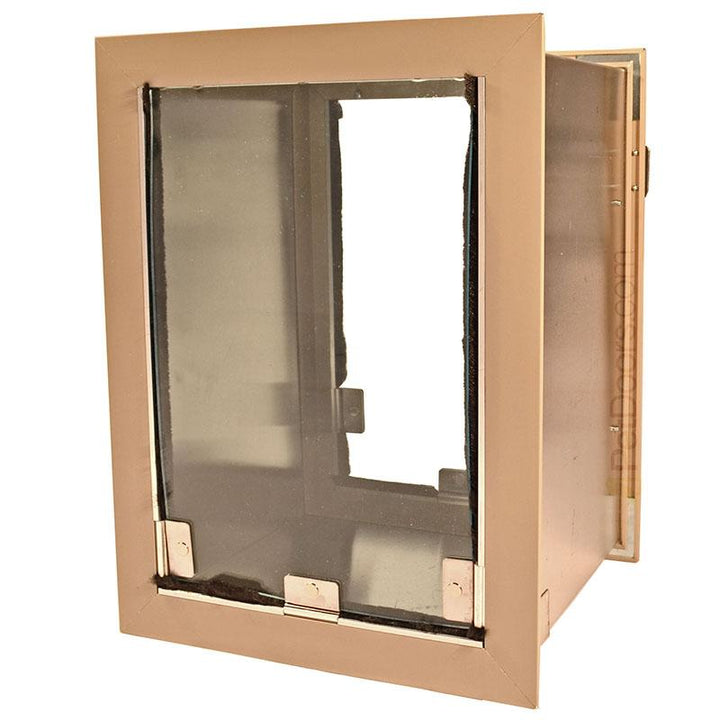 Size Medium, Arizona beige Hale dog door - flap has nylon weather stripping for increased insulation.