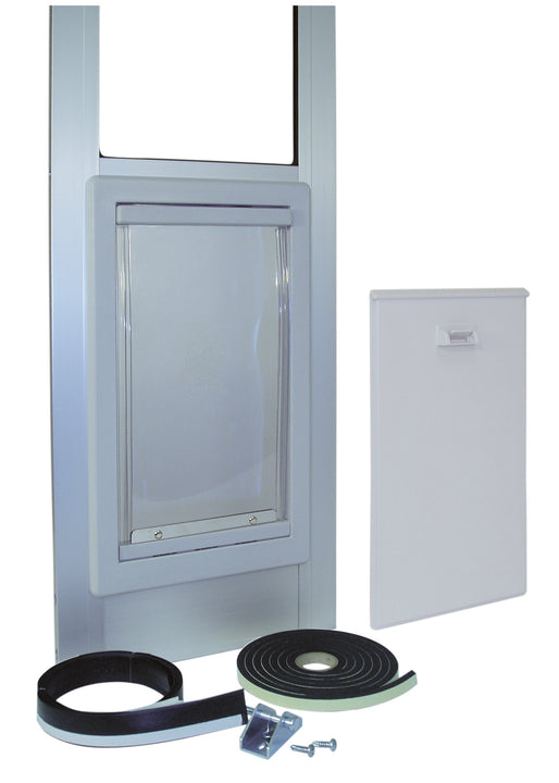 The Ideal Modular Patio Pet Door Insert with a locking cover, weather stripping, and a pin lock