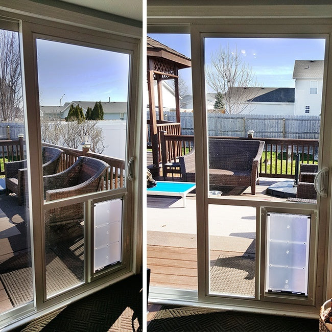The Endura Flap pet door installed directly into the glass of a sliding patio door.