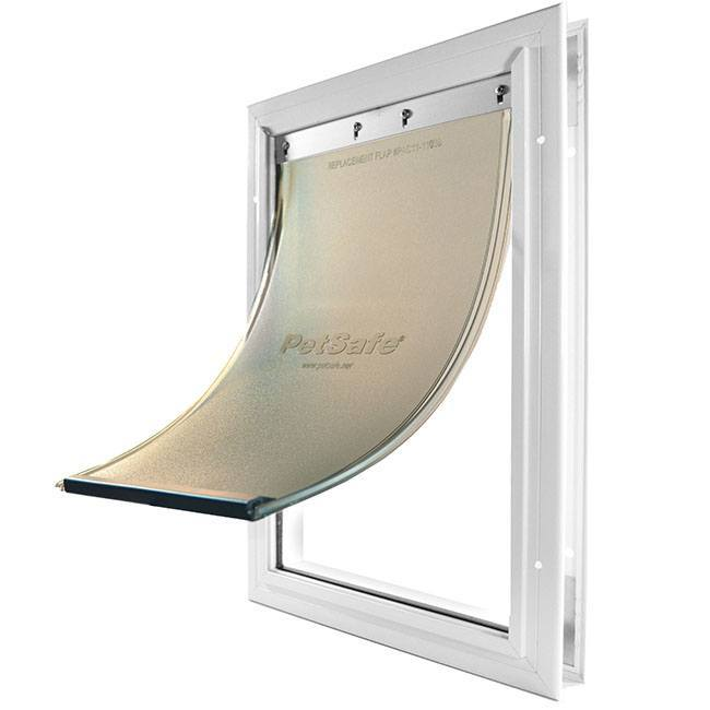 The Petsafe Freedom Pet Door with an aluminum white frame and a frosted flap.